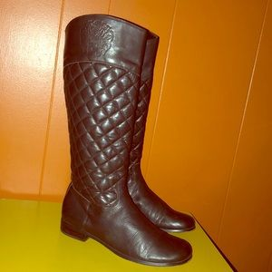 Vince Camuto Brown Quilted Leather Riding Boots